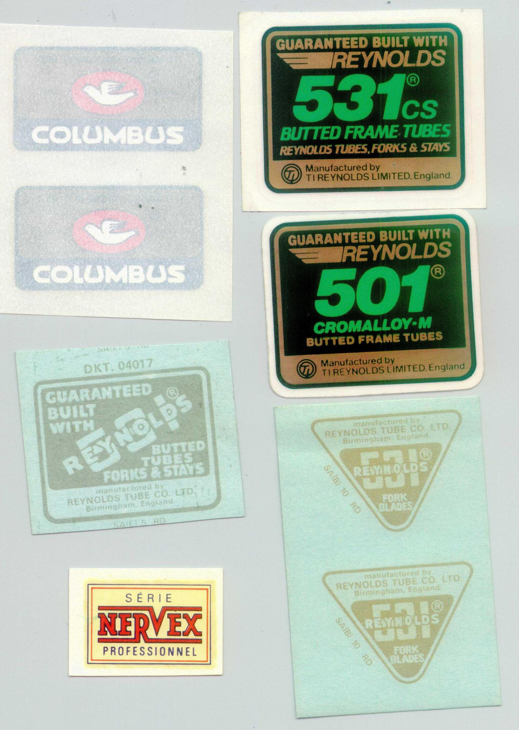 Butted tubes Vintage 1970/'s Reynolds 531 decal NOT repro NOS from Reynolds